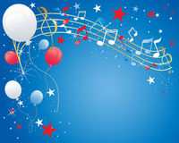 July fourth. An illustration of a july fourth celebration background with musical notes balloons sparkles and stars in red white and blue Stock Image