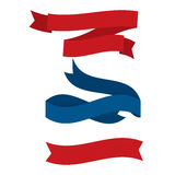 July fourth ribbons set. Fourth Of July Ribbons, Shields, Labels And Banners. Collection of July fourth ribbons shield and other badges with banners, labels Vector Illustration