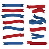 July fourth ribbons vector set. Fourth Of July Ribbons, Shields, Labels And Banners. Collection of July fourth ribbons shield and other badges with banners Stock Image