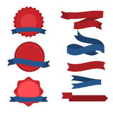 July fourth ribbons vector set. Fourth Of July Ribbons, Shields, Labels And Banners. Collection of July fourth ribbons shield and other badges with banners Royalty Free Stock Images