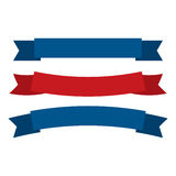 July fourth ribbons vector set. Fourth Of July Ribbons, Shields, Labels And Banners. Collection of July fourth ribbons shield and other badges with banners Stock Photography