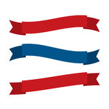 July fourth ribbons vector set. Fourth Of July Ribbons, Shields, Labels And Banners. Collection of July fourth ribbons shield and other badges with banners Stock Photos