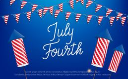 July Fourth, USA Independence Day celebration. Banner with lettering, buntings and fireworks.  Stock Illustration