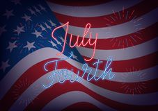 July Fourth. USA Independence Day greeting banner. USA flag background with neon lettering and fireworks.  Stock Photo