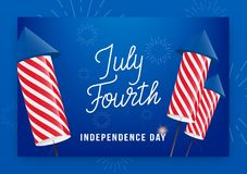 July Fourth. USA Independence Day greeting banner. Modern layout with custom lettering and fireworks rockets.  Royalty Free Stock Photography