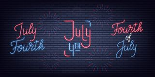 July Fourth. USA Independence Day neon signs collection. Fourth of July holiday neon banners.  Royalty Free Stock Image