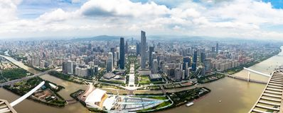 July 2017 – Guangzhou, China – Panoramic view of Guangzhou central business district and of the Pearl River. From the 488m observation deck of the royalty free stock photography