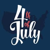 4 of July hand lettering inscription with map and flag USA royalty free illustration