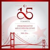 15 July, Happy Holidays Democracy Republic of Turkey celebration card. 15 temmuz demokrasi ve milli birlik gunu vector illustration. (15 July, Happy Royalty Free Illustration