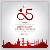 15 July, Happy Holidays Democracy Republic of Turkey celebration card. 15 temmuz demokrasi ve milli birlik gunu vector illustration. 15 July, Happy Holidays Royalty Free Stock Photography