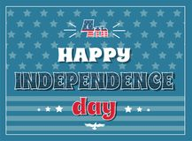 4 July Happy Independence Day Poster American Flag. 4th July happy Independence day poster on background of American flag, stars and stripes, greeting card vector illustration