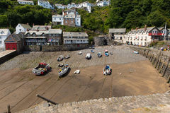 The July heatwave in England saw tourists flocking to Clovelly Devon Stock Photos