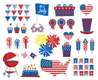 July 4 icons Independence Day of USA colors. Vector illustration Royalty Free Stock Photos