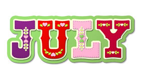 July, illustrated name of calendar month, illustration. July, illustrated name of calendar month on white background, vector illustration, eps 10 with Royalty Free Stock Photo