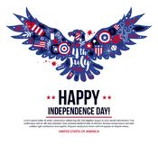 4 July Independence Day banner template with illustration of flying eagle. Patriotic symbols and abstract elements. Modern hand drawn illustration style Stock Photos