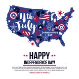 4 July Independence Day banner template with illustration of USA map. Patriotic symbols and abstract elements. Modern hand drawn illustration style Royalty Free Illustration