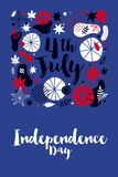 4 July Independence Day banner template with patriotic symbols and abstract elements. Modern hand drawn illustration style Vector Illustration