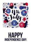 4 July Independence Day banner template with patriotic symbols and abstract elements. Modern hand drawn illustration style Stock Illustration