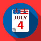 4 July Independence day. 4 July calendar flat icon. Independence day in USA Stock Photos
