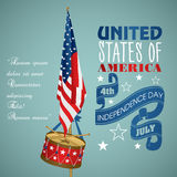 4 july Independence Day festive background. With American flags, drum, vector illustration Stock Photo