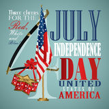 4 july Independence Day festive background. With American flags, sword, drum, vector illustration Stock Photography