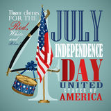 4 july Independence Day festive background. With American flags, sword, drum, vector illustration Royalty Free Stock Photo