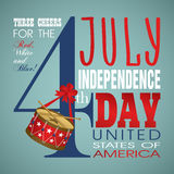 4 july Independence Day festive background. With drum, vector illustration Stock Photo
