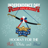 4 july Independence Day festive background. With sword, drum, vector illustration Stock Photography