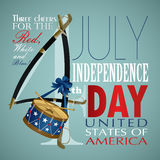 4 july Independence Day festive background. With sword, drum, vector illustration Stock Photo