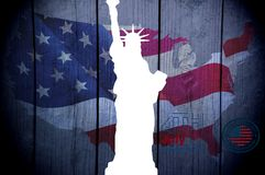 July 4 Independence day, flag, statue of liberty stock illustration