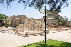 July 30, - Information signs  in the ancient Byzantine park in Caesarea - Caesarea 2015 in Israel. Stock Photography