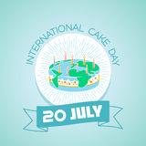 20 july   International Cake Day. Calendar for each day on july Royalty Free Stock Photos