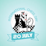20 july International Chess Day. Calendar for each day on july Stock Images
