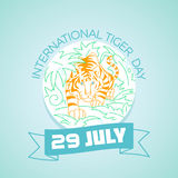 29 july  International Tiger Day. Calendar for each day on july Royalty Free Stock Image