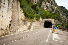 July 8, 2013. Italy is expensive and a tunnel along Lake Lago di Garda stock photo