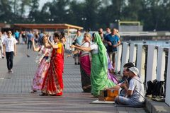 July 20, 2018. Izhevsk, Russia. Dancers performing a traditional Indian dance at the Peacock Day Journey to India festival stock images