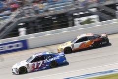 NASCAR: July 01 Overton`s 400. July 01, 2018 - Joliet, Illinois , USA: Ricky Stenhouse, Jr 17 Trevor Bayne 6 battle for position during the Overton`s 400 at Royalty Free Stock Photo