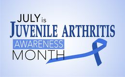 July is juvenile arthritis awareness month. Background with blue awareness ribbon vector illustration