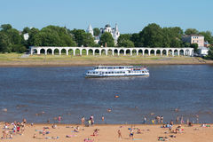 July landscape with the Volkhov river in the center of Veliky Novgorod Stock Photography