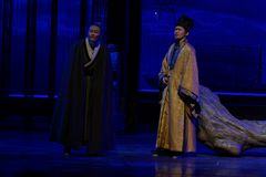 senesc-The third act: the night of the cliff mountain-large historical drama, `Yangming three nights` Stock Image