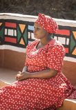 04 July, 2015 - Lesedi, South Africa. Woman in ethnic clothes. stock image