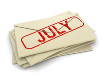 July letters  (clipping path included) Stock Photography