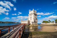 10 July 2017 - Lisbon, Portugal. Belem tower - fortified building on an island in the River Tagus Stock Images