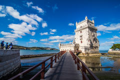 10 July 2017 - Lisbon, Portugal. Belem tower - fortified building on an island in the River Tagus Stock Image