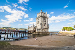 10 July 2017 - Lisbon, Portugal. Belem tower - fortified building on an island in the River Tagus Royalty Free Stock Images
