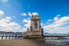 10 July 2017 - Lisbon, Portugal. Belem tower - fortified building on an island in the River Tagus. Belem tower - fortified building fort on an island in the Stock Photo