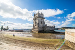 10 July 2017 - Lisbon, Portugal. Belem tower - fortified building on an island in the River Tagus. Belem tower - fortified building fort on an island in the Royalty Free Stock Photos