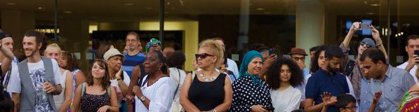 21 July 2018 - London, United Kingdom: Audience at the Africa Utopia Music Festival on London`s Southbank stock image
