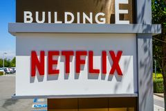 July 30, 2018 Los Gatos / CA / USA - Netflix logo in front of their headquarters situated in Silicon Valley; south San Francisco. Bay area royalty free stock image