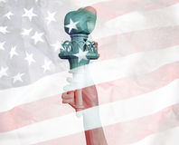 4 July low poly. Statue of Liberty with USA flag 3d render model Royalty Free Stock Photos